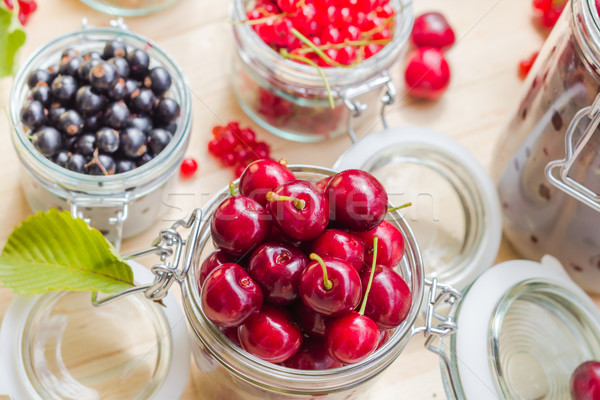 Top view summer fruits prepared Preserving Stock photo © fotoaloja