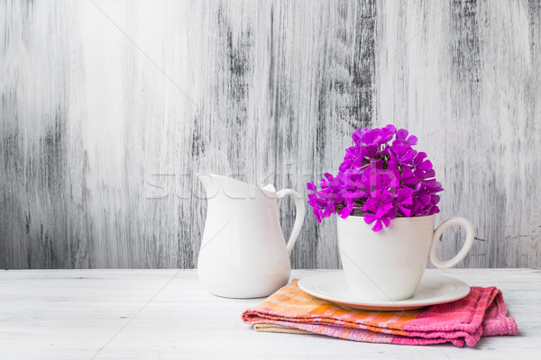 Still life white china flowers Stock photo © fotoaloja