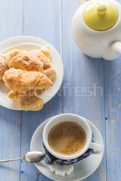 coffee cup black wooden board brown white jug milk croissants Stock photo © fotoaloja
