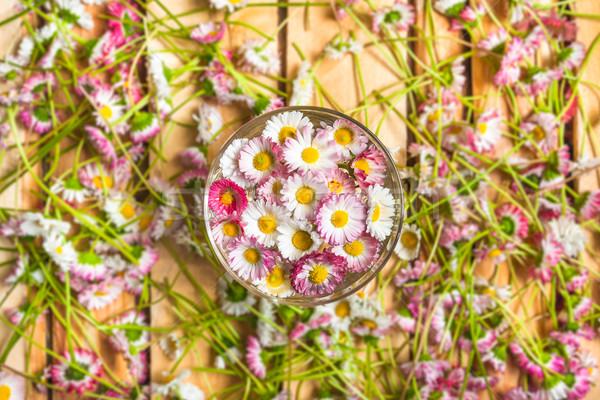 glass freshly cut daisies among Stock photo © fotoaloja