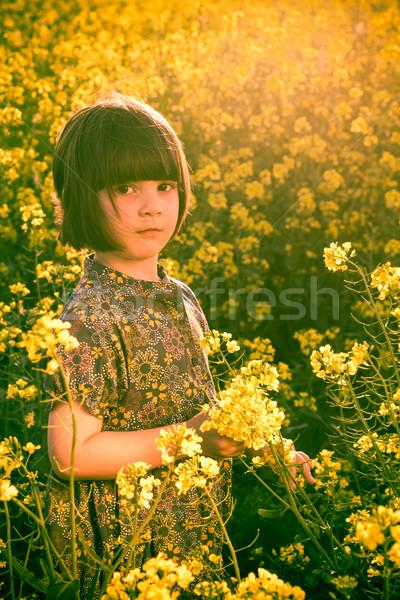 little girl rape field bouquet hand Stock photo © fotoaloja