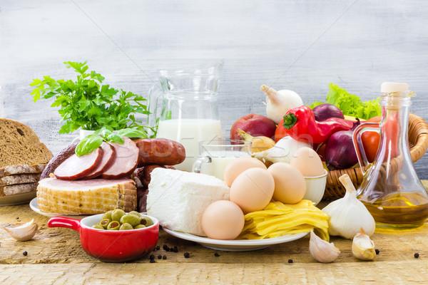 Szett különböző ételek egészséges étrend sok fa Stock fotó © fotoaloja