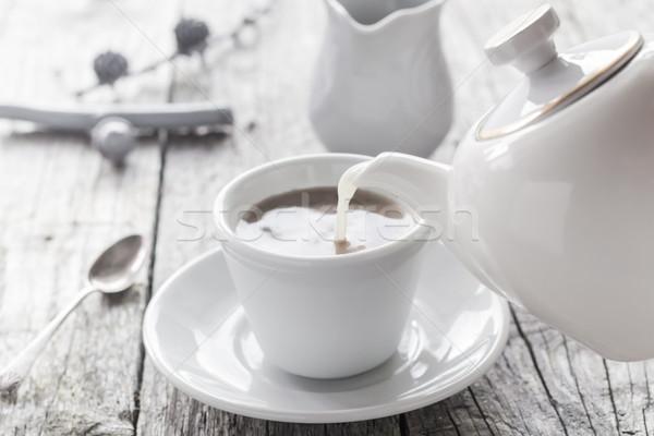 pouring milk from jug cup black coffee Stock photo © fotoaloja