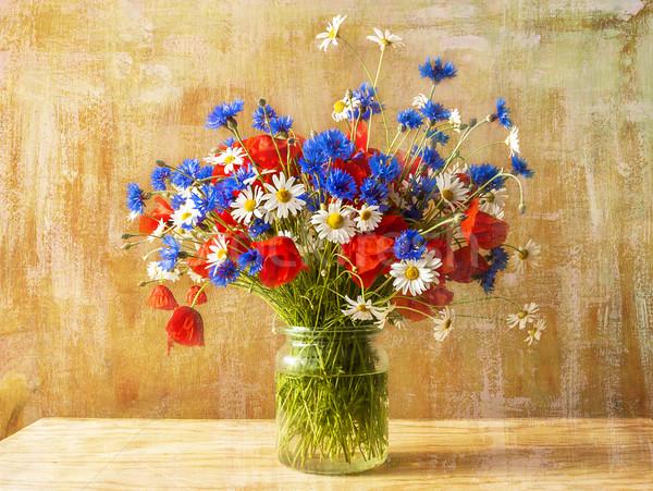 Still life bouquet colorful wild flowers Stock photo © fotoaloja