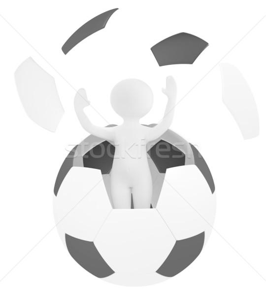 Persoon voetbal 3d render sport graphics illustratie Stockfoto © fotoaloja