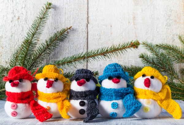 snowmen board wooden Christmas winter plush team family Stock photo © fotoaloja