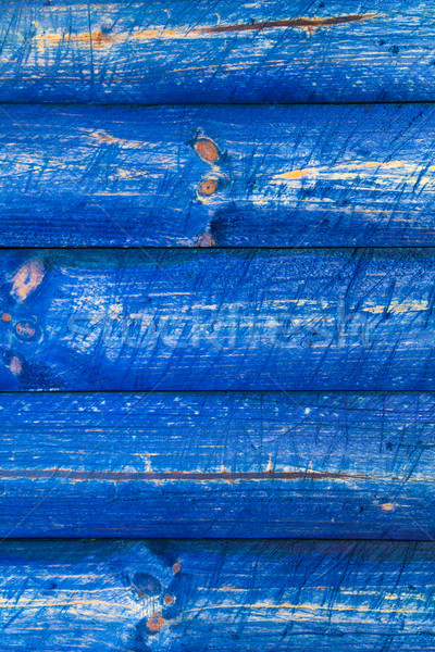The wall wooden planks painted blue Stock photo © fotoaloja
