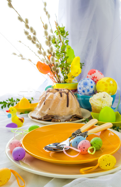 Serving Easter table cake eggs Stock photo © fotoaloja