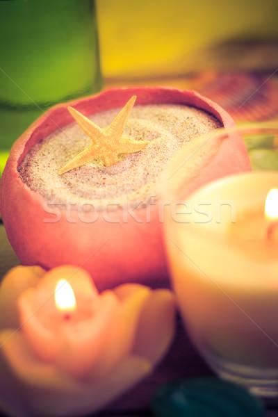 Photo stock: Spa · mer · sable · shell · bougies