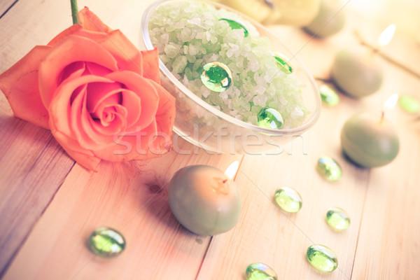 Spa tuz banyo kokulu mumlar çiçek Stok fotoğraf © fotoaloja