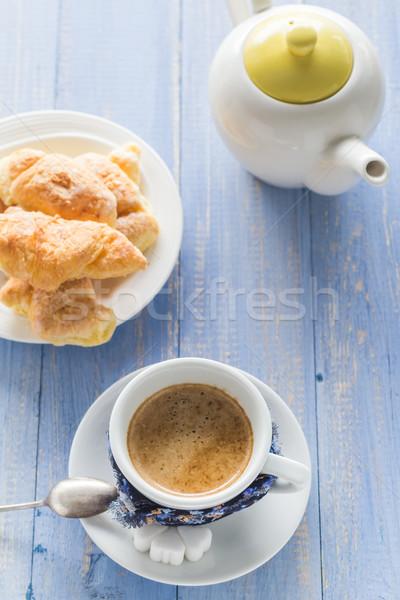coffee cup black wooden board brown white jug milk croissants Stock photo © fotoaloja
