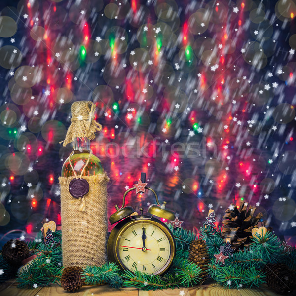 Festive Christmas clock time twelfth New Year Stock photo © fotoaloja