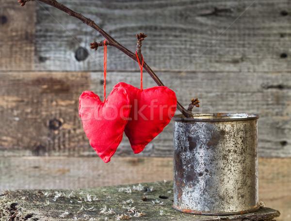 Two Red Hearts twig board rusty tin Stock photo © fotoaloja