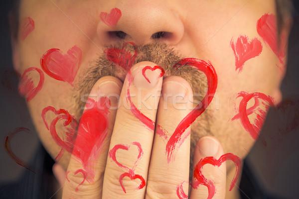 man love giving away red hearts Stock photo © fotoaloja