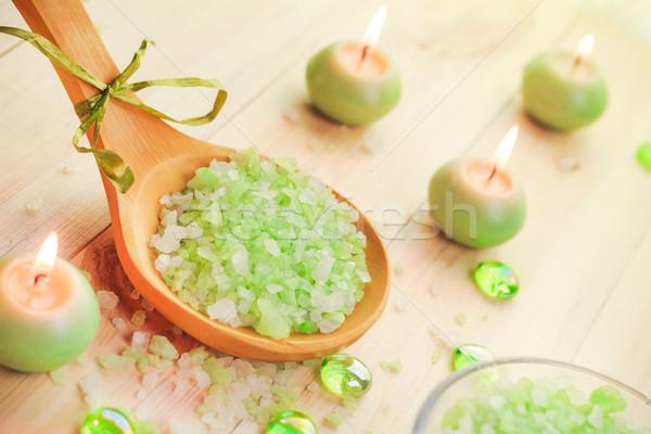 Salt bath scented candles table Stock photo © fotoaloja