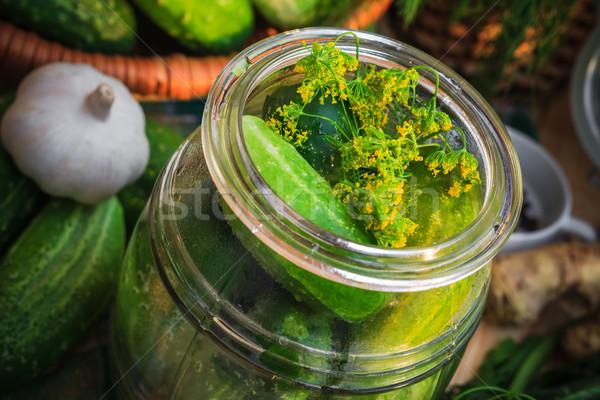 Kavanoz salatalık turşusu diğer malzemeler çiftlik Stok fotoğraf © fotoaloja