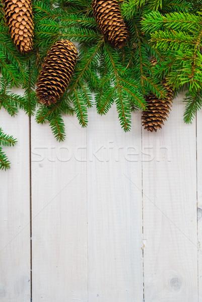 クリスマス スプルース 白 木製 ホワイトボード 背景 ストックフォト © fotoaloja