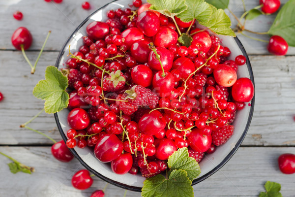 fruit bowl full cherries raspberries Stock photo © fotoaloja