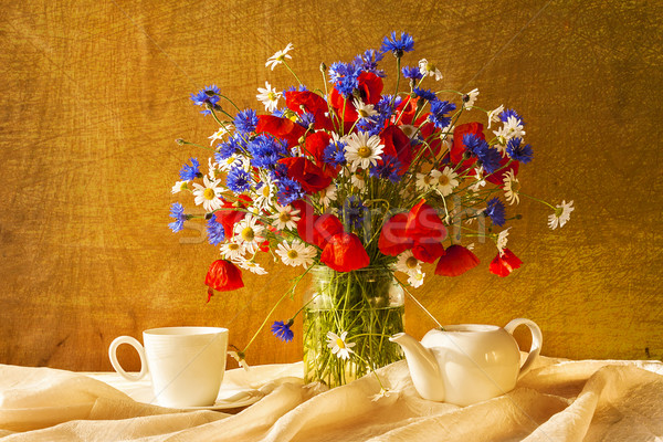 Still life bouquet camomiles cornflowers poppies Stock photo © fotoaloja