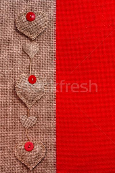 Valentine background hand-sewn hearts texstile Stock photo © fotoaloja