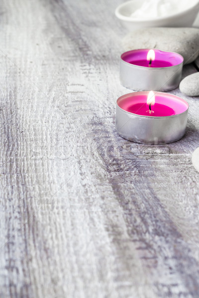 Stock photo: Spa concept stones aromatic candles