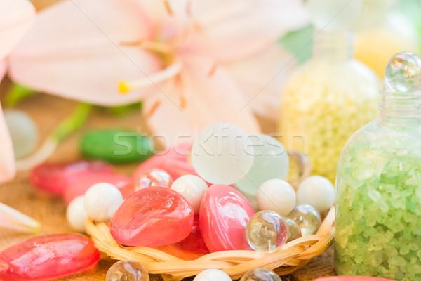composition spa bathing salts natural flavors Stock photo © fotoaloja