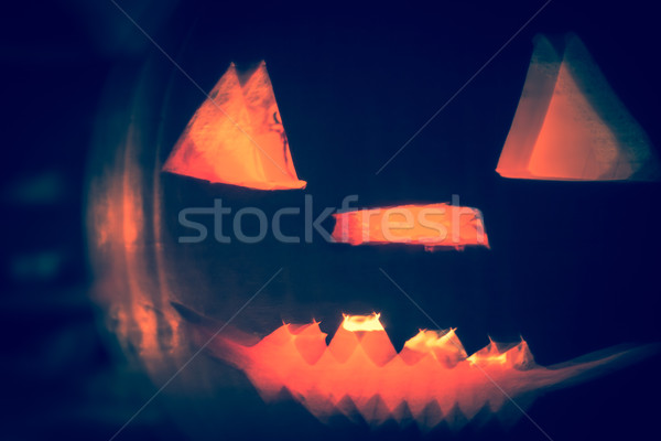 Abstract zucca di halloween lanterne buio luce arrabbiato Foto d'archivio © fotoaloja