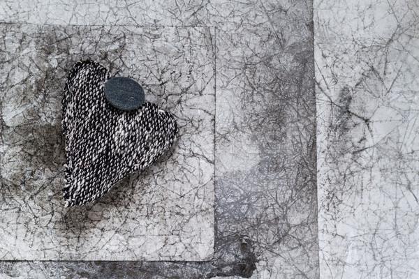 Gri kalp eski kâğıt sevmek Stok fotoğraf © fotoaloja