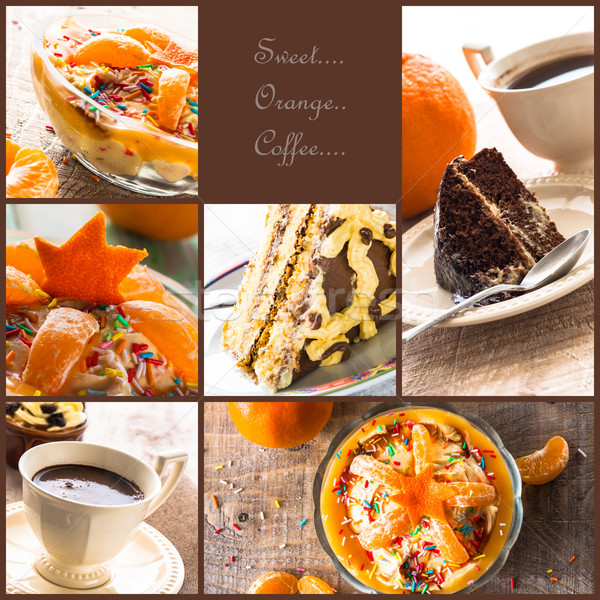 collage dessert jelly cake coffee cup more Stock photo © fotoaloja