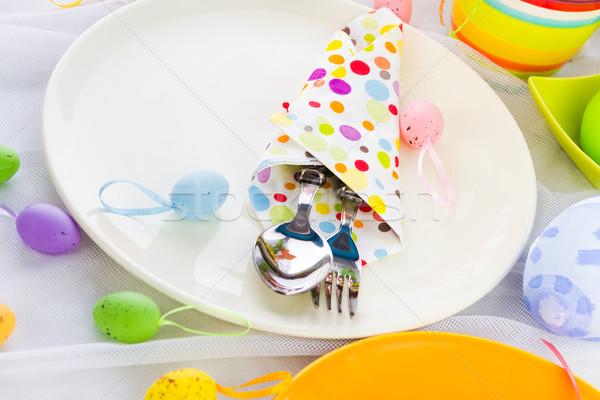 Húsvét asztal ezüst étkészlet szalvéta tojás étterem Stock fotó © fotoaloja