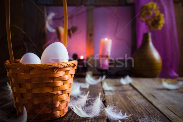 Vintage Pasen mand eieren veren natuur Stockfoto © fotoaloja