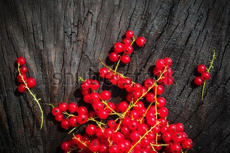 red currant fruit scattered wooden bench table Stock photo © fotoaloja