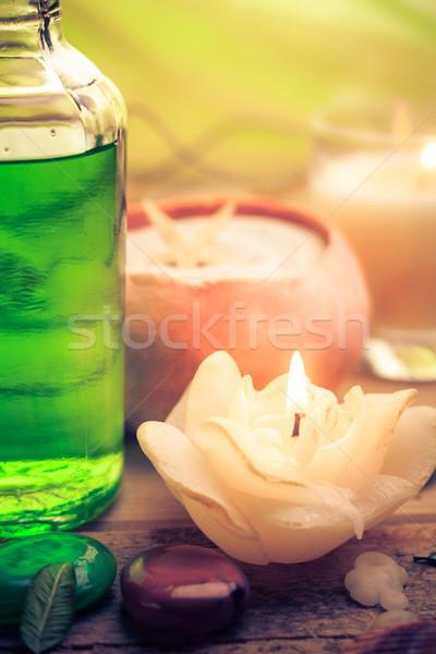 Pétrolières massage aromatique bougies pierres zen Photo stock © fotoaloja