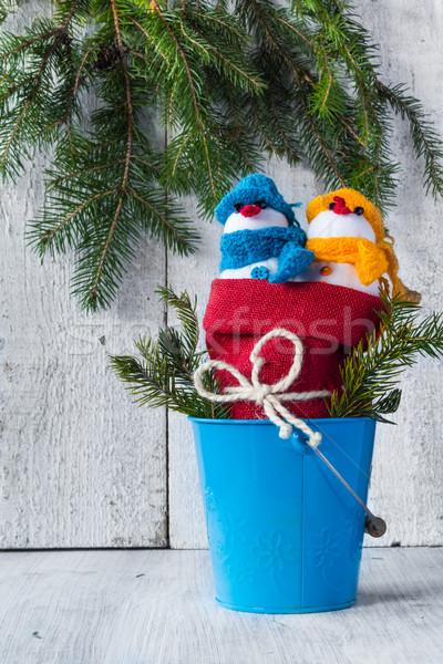 snowmen board wooden Christmas winter plush duo Stock photo © fotoaloja