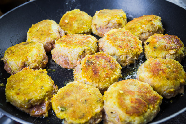 Set chops minced meat during frying Stock photo © fotoaloja