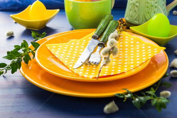 Pascua mesa cono sauce restaurante cena Foto stock © fotoaloja