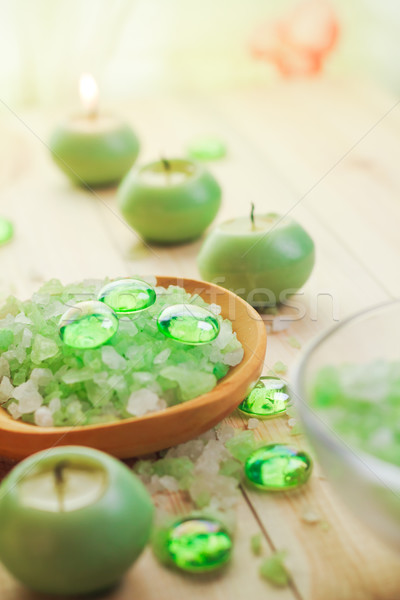 Salt bath scented candles table Stock photo © fotoaloja
