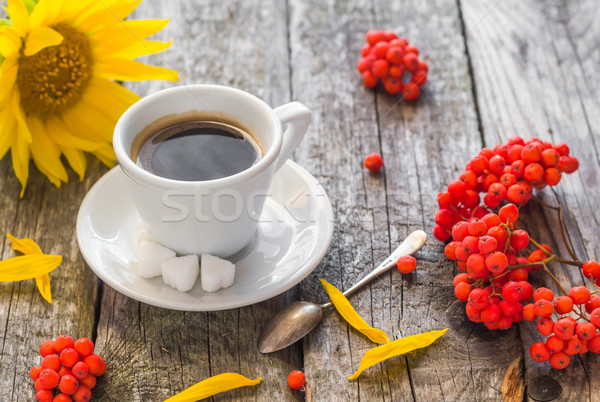 coffee cup black wooden board brown rowan sunflower white Stock photo © fotoaloja