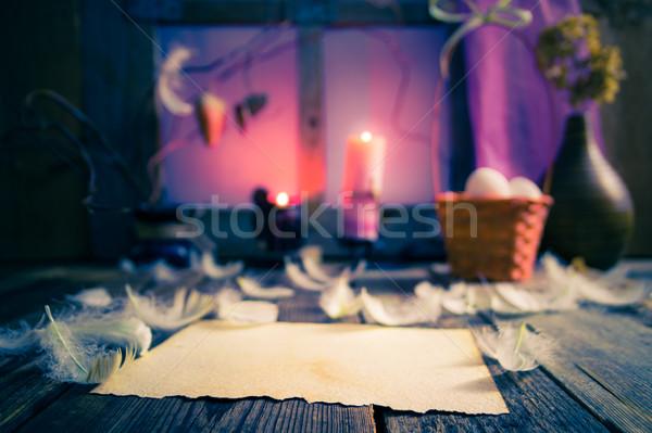 Klasszikus húsvét egyezség üres kártya kívánságok természet Stock fotó © fotoaloja