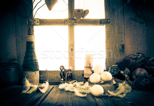 Vintage Easter arrangement white eggs feathers Stock photo © fotoaloja