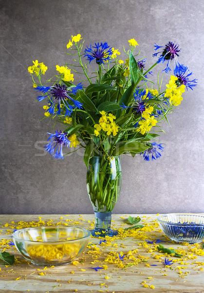 Martwa natura bukiet kwiaty drewna charakter Zdjęcia stock © fotoaloja