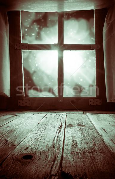 Velho rural interior janela tabela Foto stock © fotoaloja