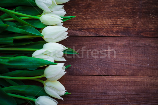 Art abstract background spring tulips wooden design Stock photo © fotoaloja