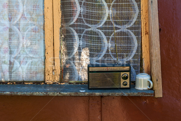 old radio mug cup window sill Stock photo © fotoaloja
