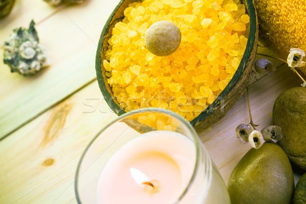 Wellness spa duftenden Kerze Blume Gesundheit Stock foto © fotoaloja