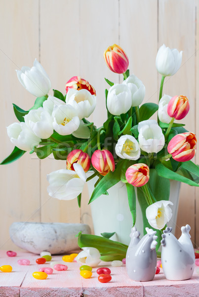 Easter still life bouquet spring tulips Stock photo © fotoaloja