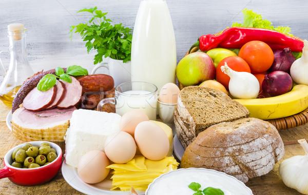 Gıda ekmek et ürünleri ahşap Stok fotoğraf © fotoaloja