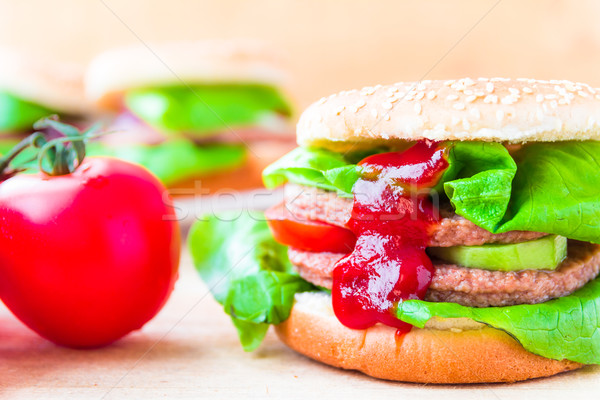 аппетитный большой чизбургер свежие салата огурца Сток-фото © fotoaloja