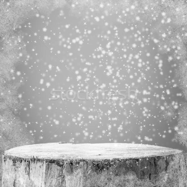 Hiver graphiques bonhomme de neige neige gel bois Photo stock © fotoaloja