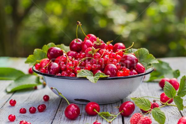 set fresh fruits wooden table Stock photo © fotoaloja